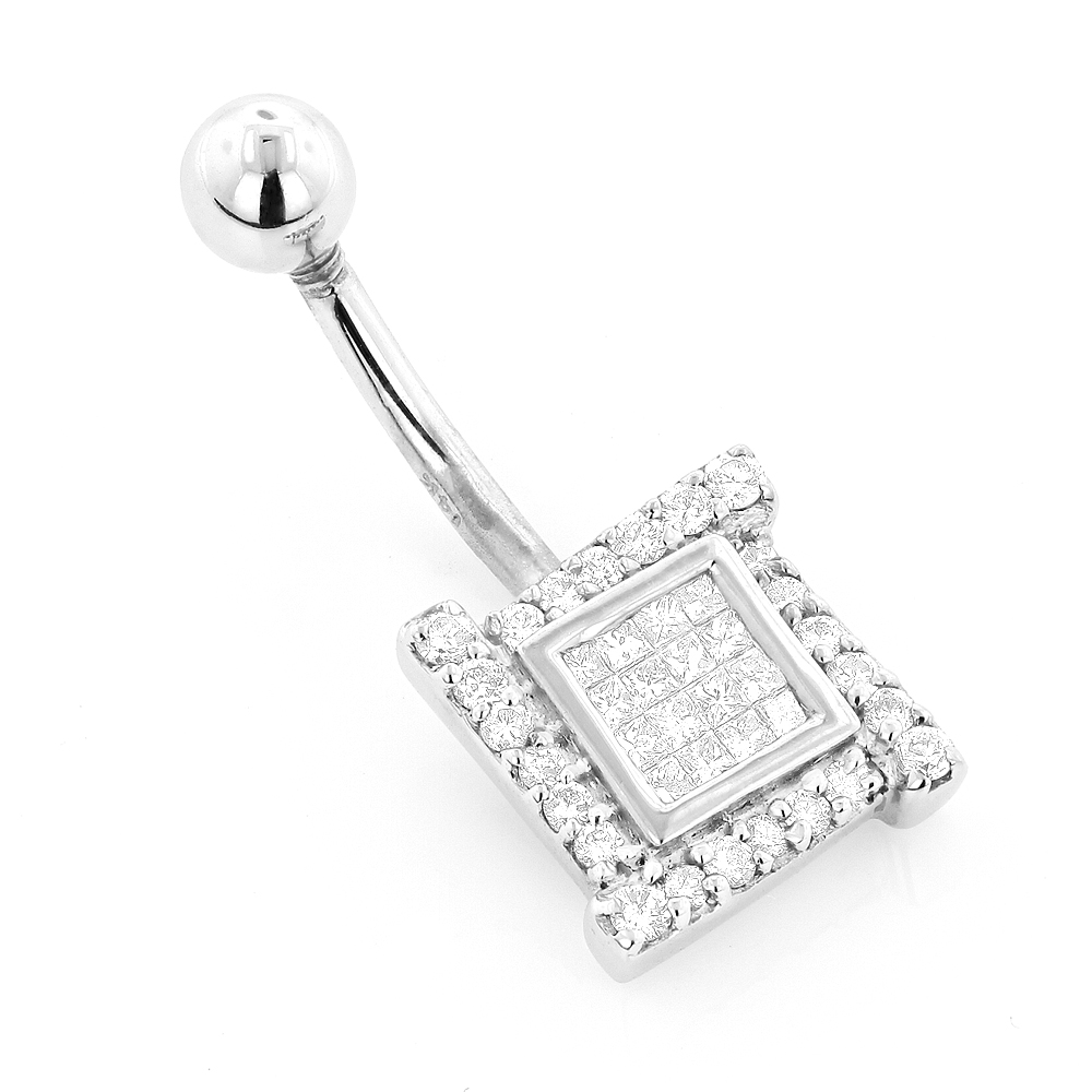 Luxury Body Jewelry: Gold Diamond Belly Button Ring 0.53ct 14K