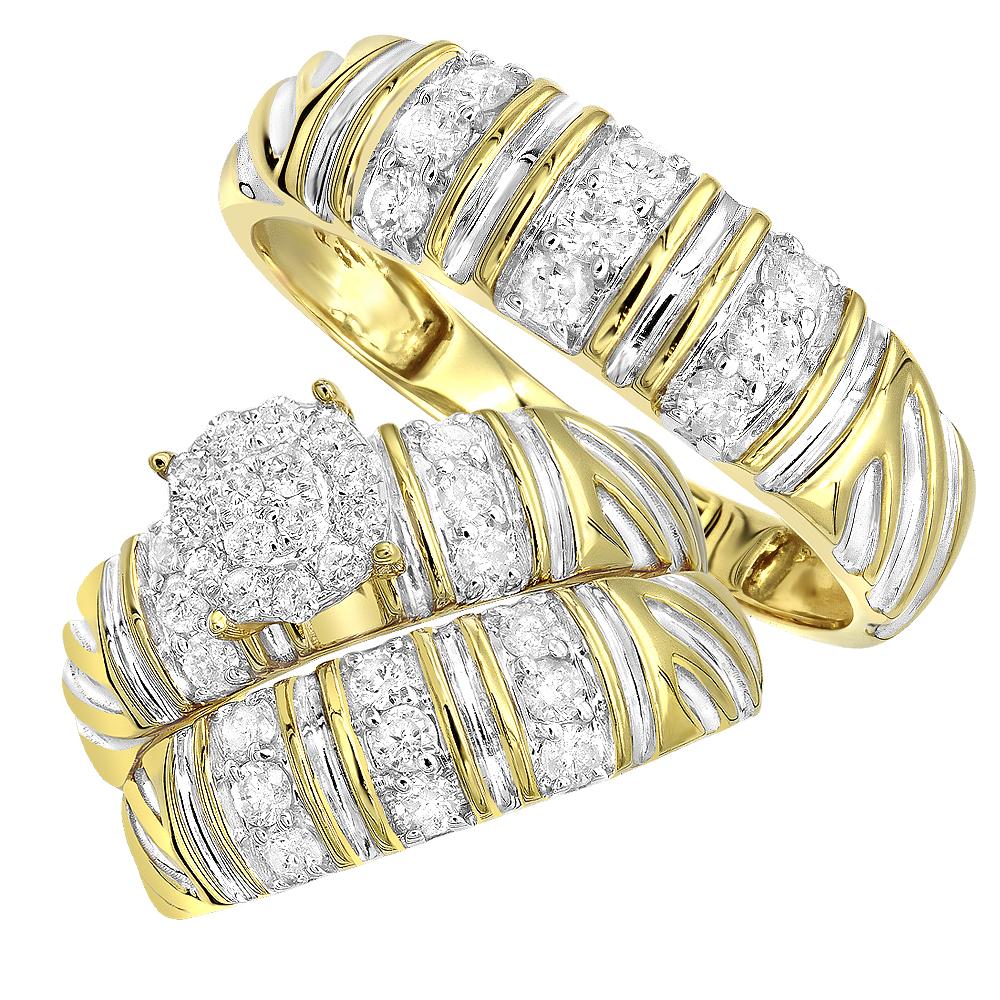 Matching Bridal Sets Diamond Engagement Ring and Wedding Bands Set 10k Gold