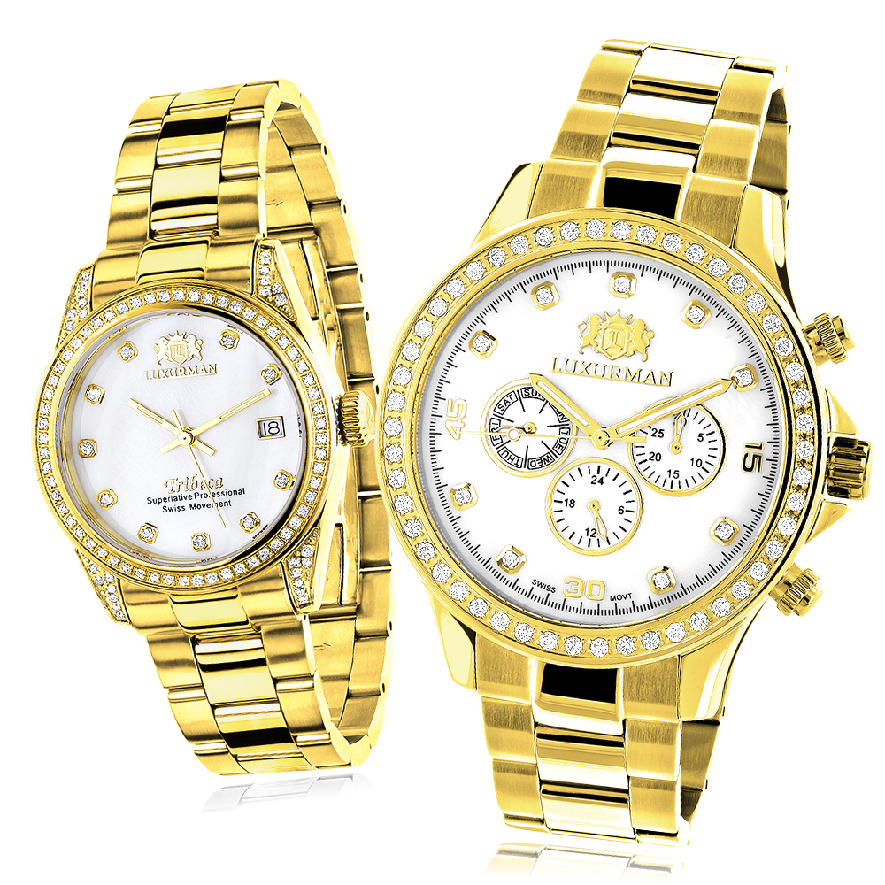 Matching His and Hers Watches Luxurman Yellow Gold Plated Diamond Watches