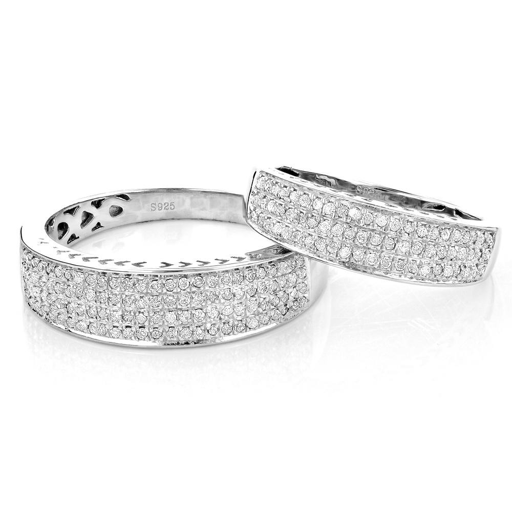 Matching His and Hers Wedding Band Set in Sterling Silver