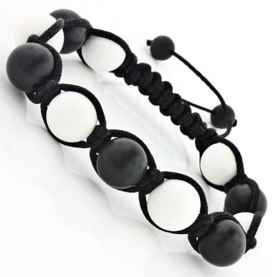 Matte Black and White Bead Bracelet