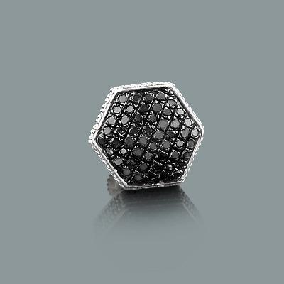 Mens 1 Silver Black Diamond Earring 0.33ct Single Stud
