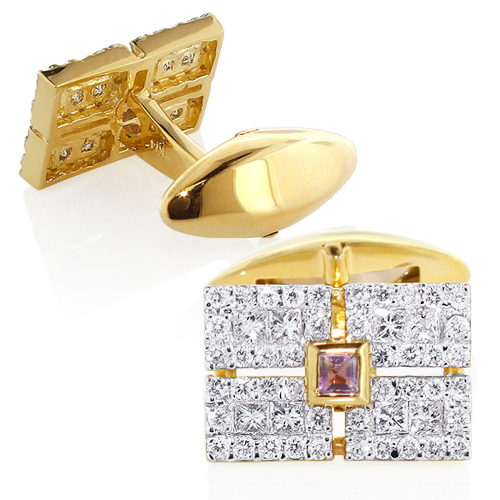 Men's 14K Gold Diamond Amethyst Cufflinks 2.5ct