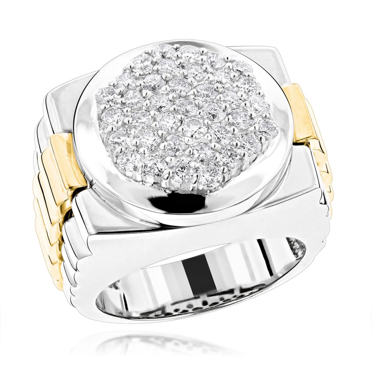Mens 14K Two Tone Gold Diamond Ring with Pave Round Diamonds 2.04ct
