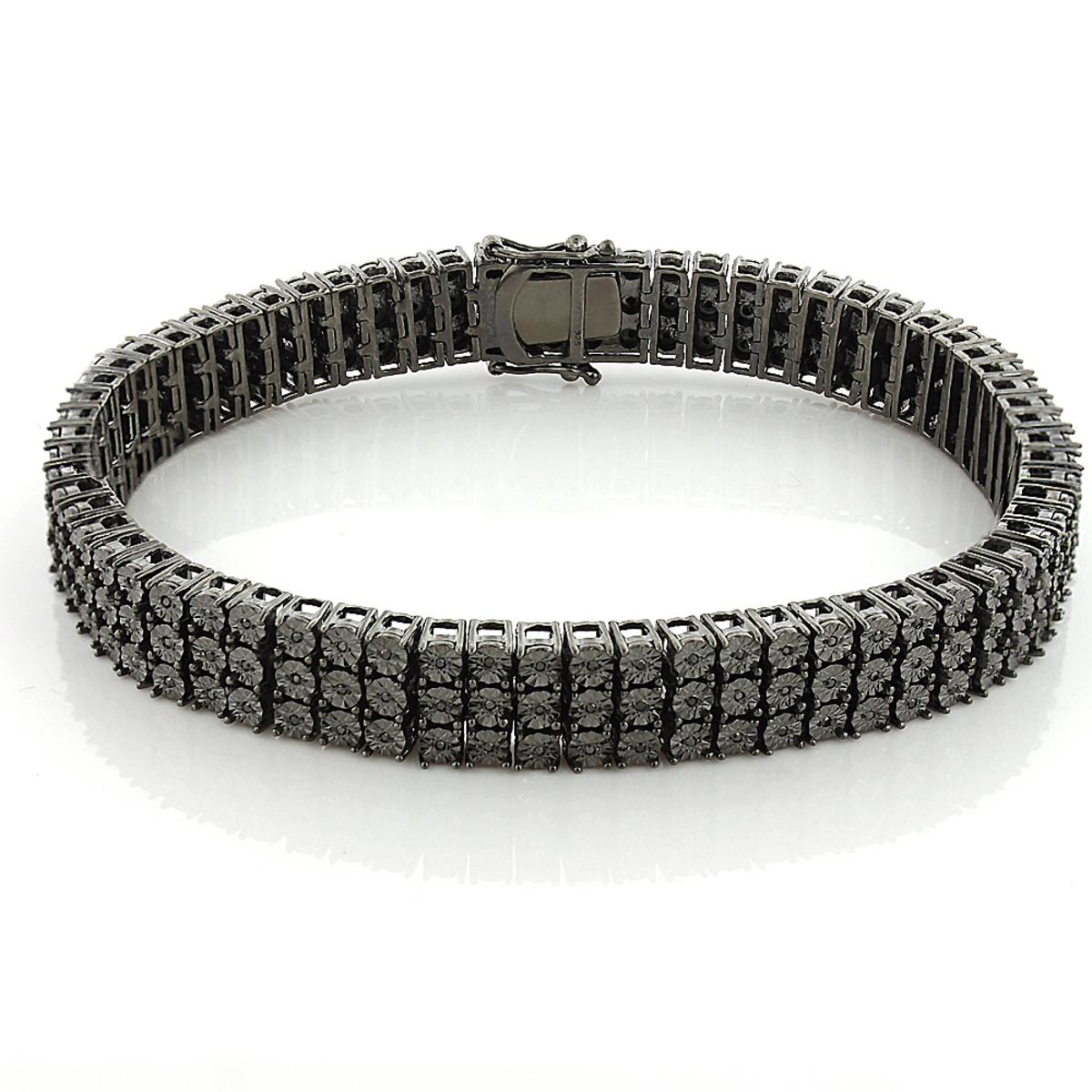 Mens 3 Row Black Diamond Bracelet 0.62ct in Sterling Silver