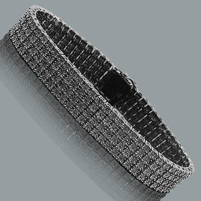 Mens 4 Row Black Diamond Bracelet 0.90ct Sterling Silver
