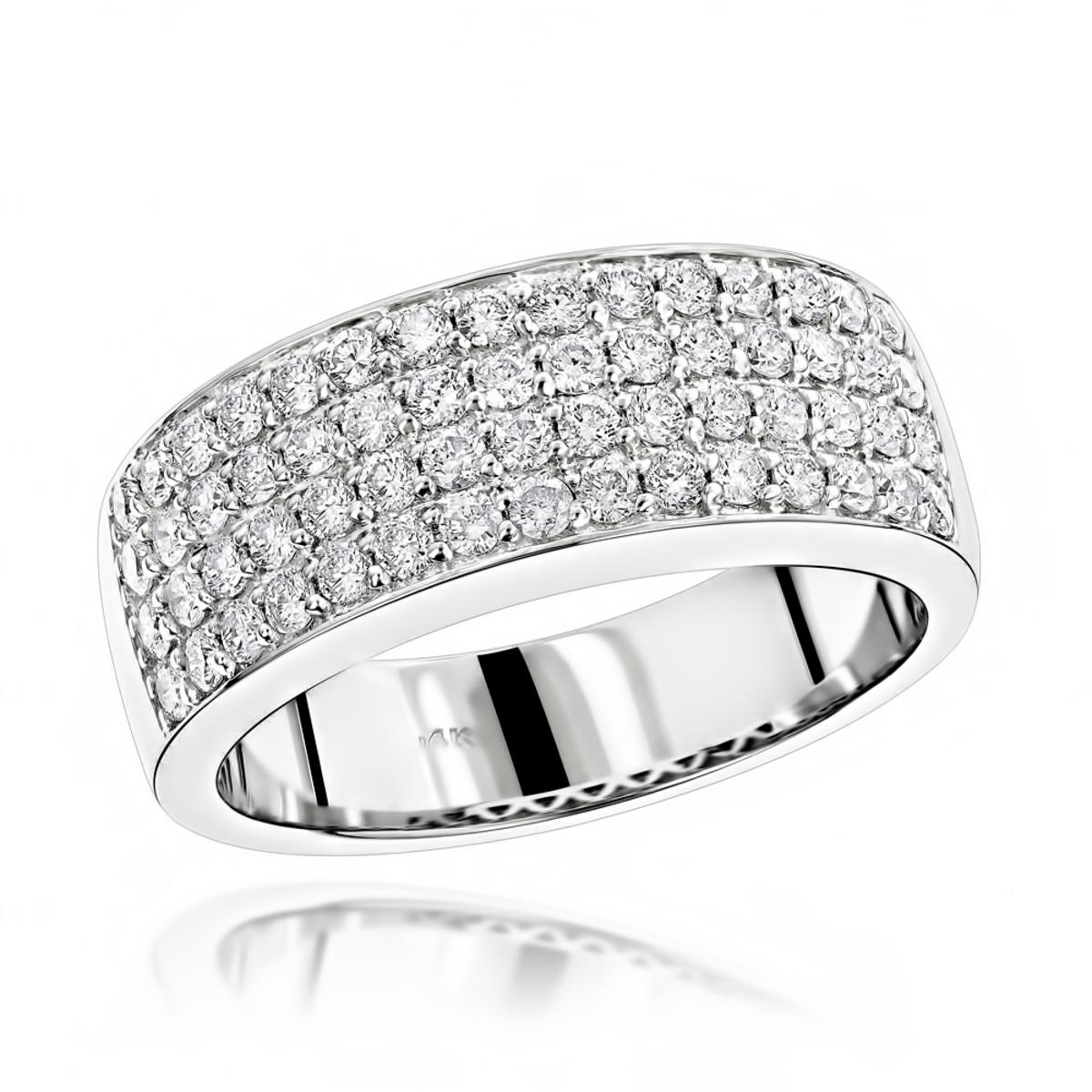 Mens 4 Row Diamond Wedding Band 1.39ct 14K Gold