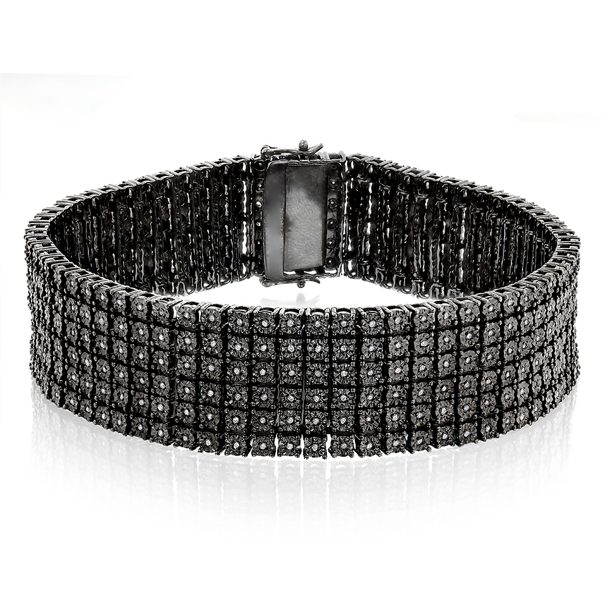 Mens 6 Row Black Diamond Bracelet 1.35ct Sterling Silver