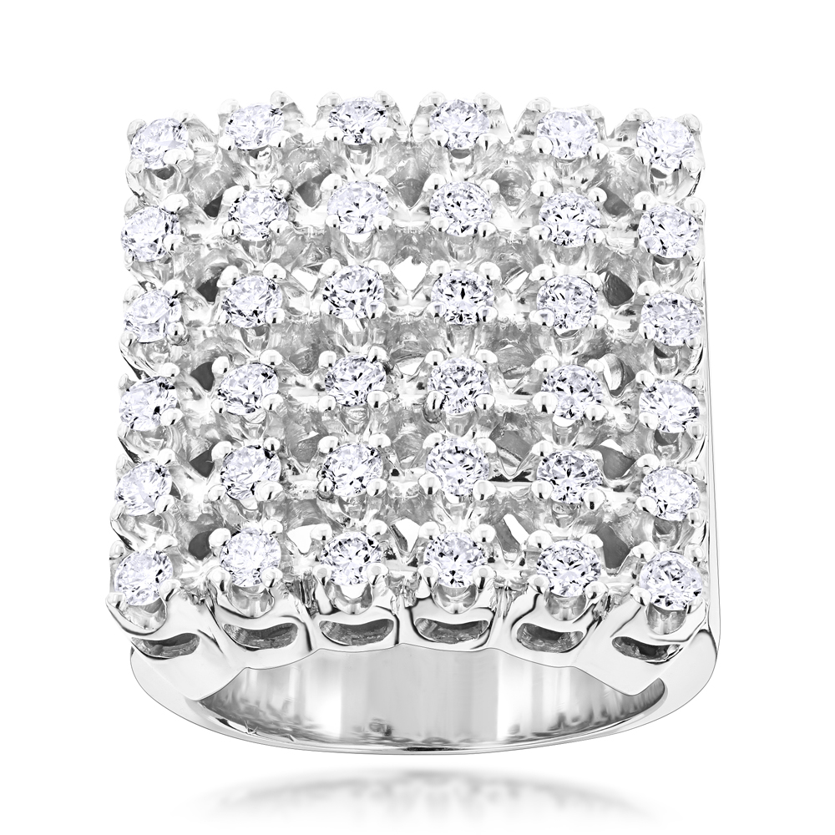 Mens 6 Row Diamond Ring w Round Diamonds 1.98ct