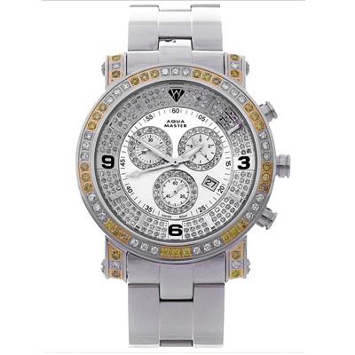 Mens Aqua Master Watch White Yellow Diamonds 3.60ct