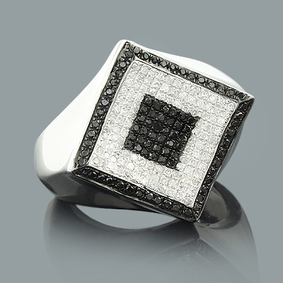 Mens Black and White Diamond Ring 1.25ct Sterling Silver