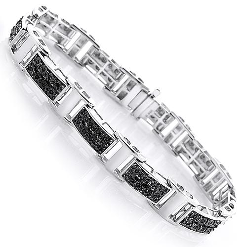 Mens Black Diamond Bracelet 0.3ct Sterling Silver