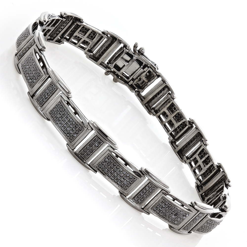 Mens Black Diamond Bracelet 2.54ct Black Rhodium Sterling Silver