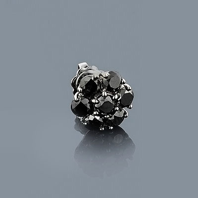 Mens Black Diamond Earring 2.16ct 14K Gold Black PVD