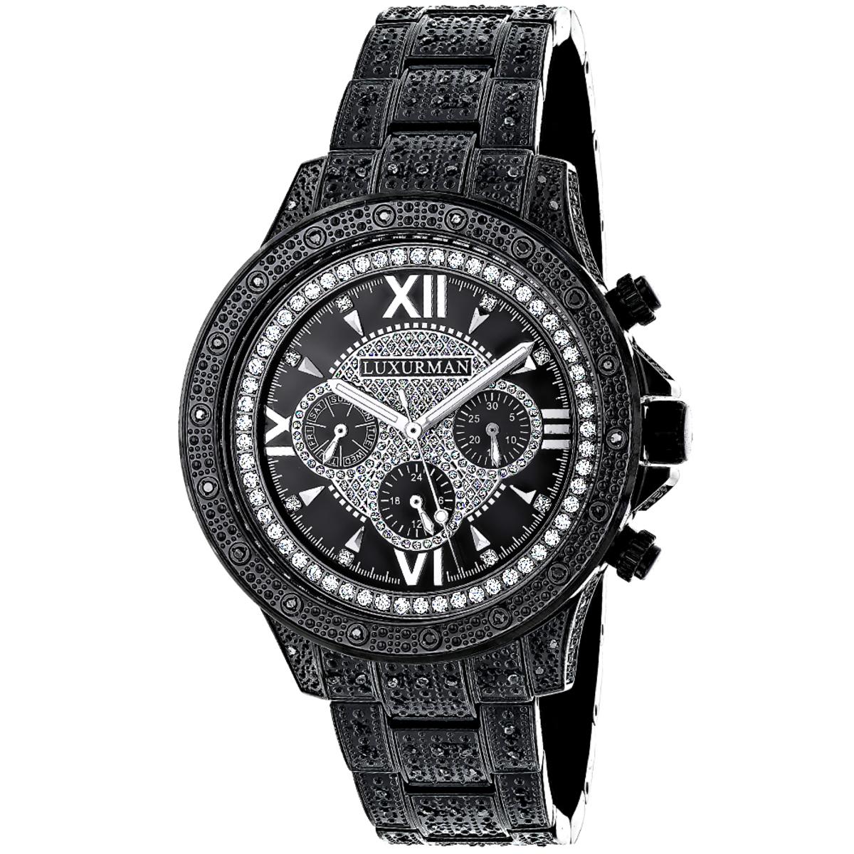 Mens Black Diamond Luxurman Watch 1.25ct Iced Out