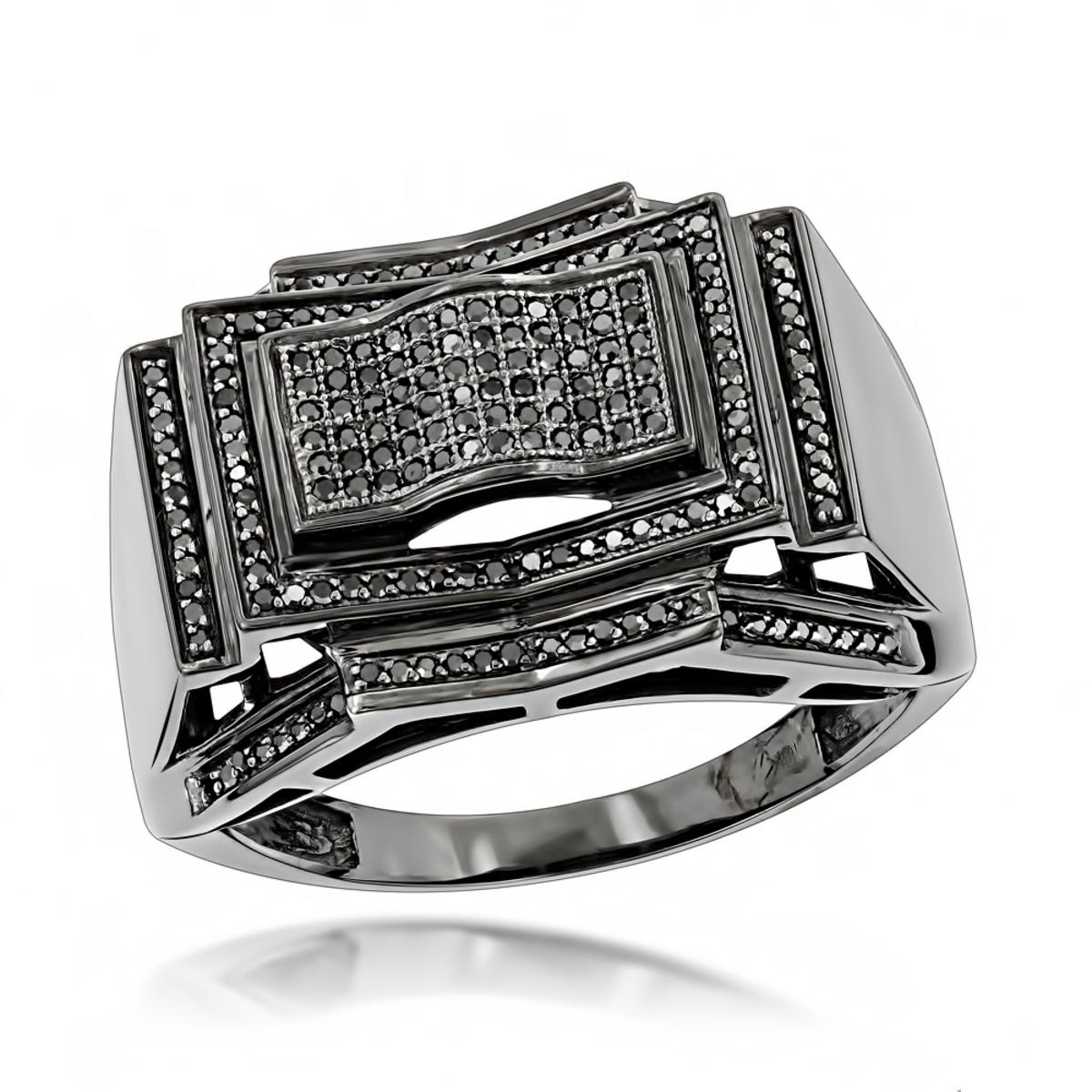 Mens Black Diamond Ring 0.5 ct 10K