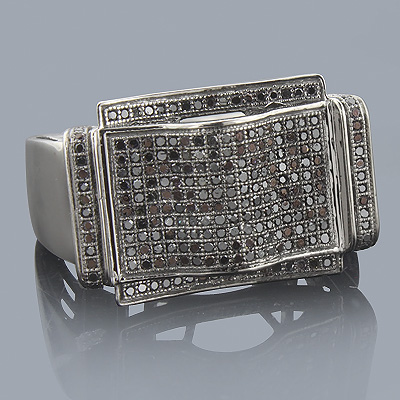 Mens Black Diamond Ring 0.68ct 10K