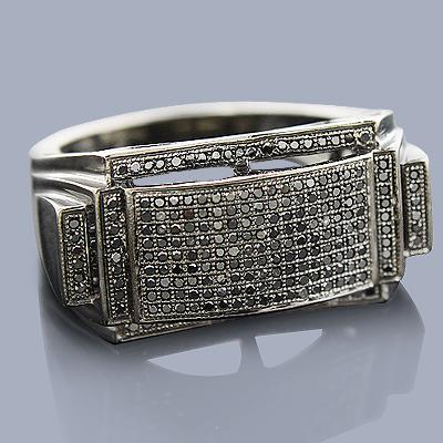 Mens Black Diamond Ring 10K 0.53ct
