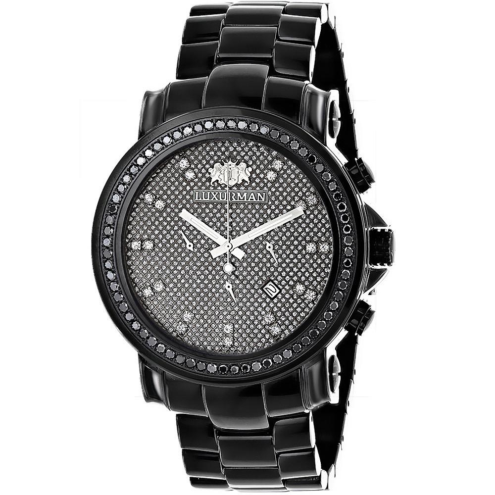 Mens Black Diamond Watch 3ct LUXURMAN Oversized Watches