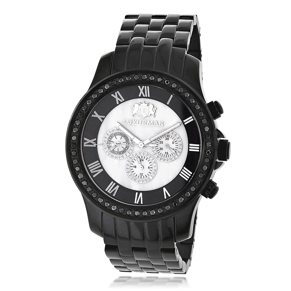 Mens Black Diamond Watch by LUXURMAN 2.25ct
