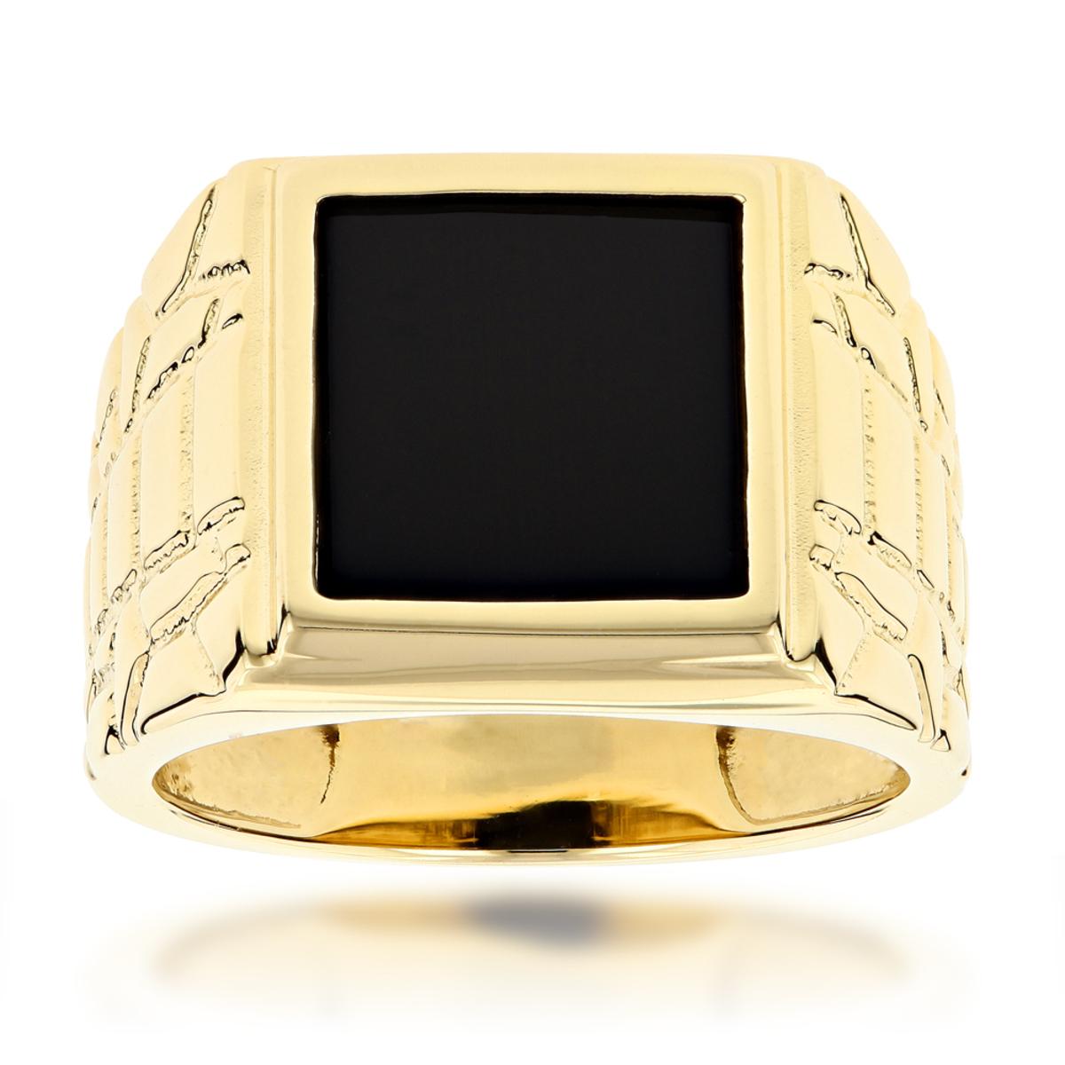 Mens Black Onyx Ring in 14K Yellow Gold