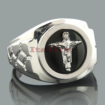 Mens Black Onyx Rings 14K White Gold Mens Cross Ring