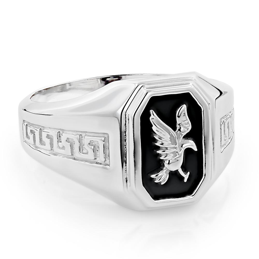Mens Black Onyx Rings 14K White Gold Mens Eagle Ring