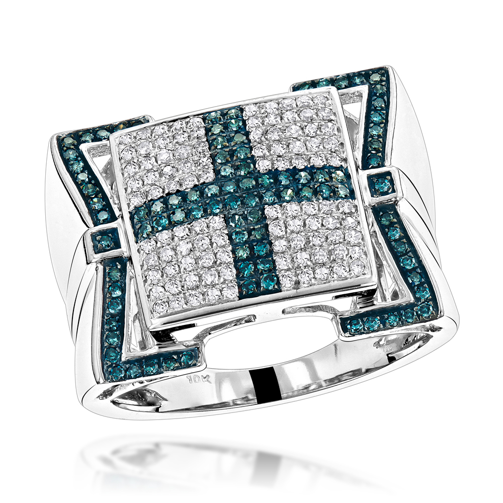 Mens Blue Diamond Cross Ring 10K 0.82ct