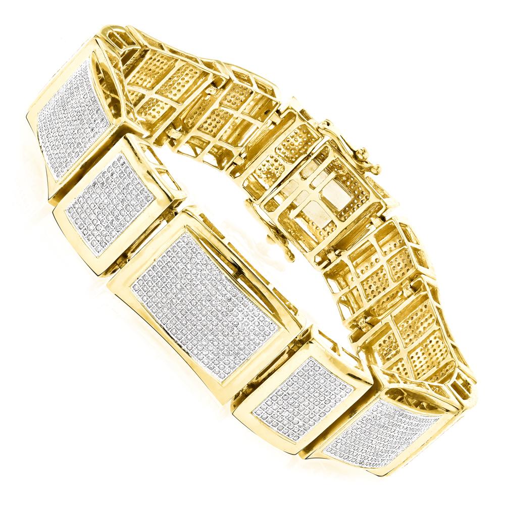 Mens Bracelets 14K Gold Mens Diamond Bracelet 6 ct