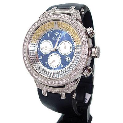 Mens Color Diamond Aqua Master Watch 4.25ct