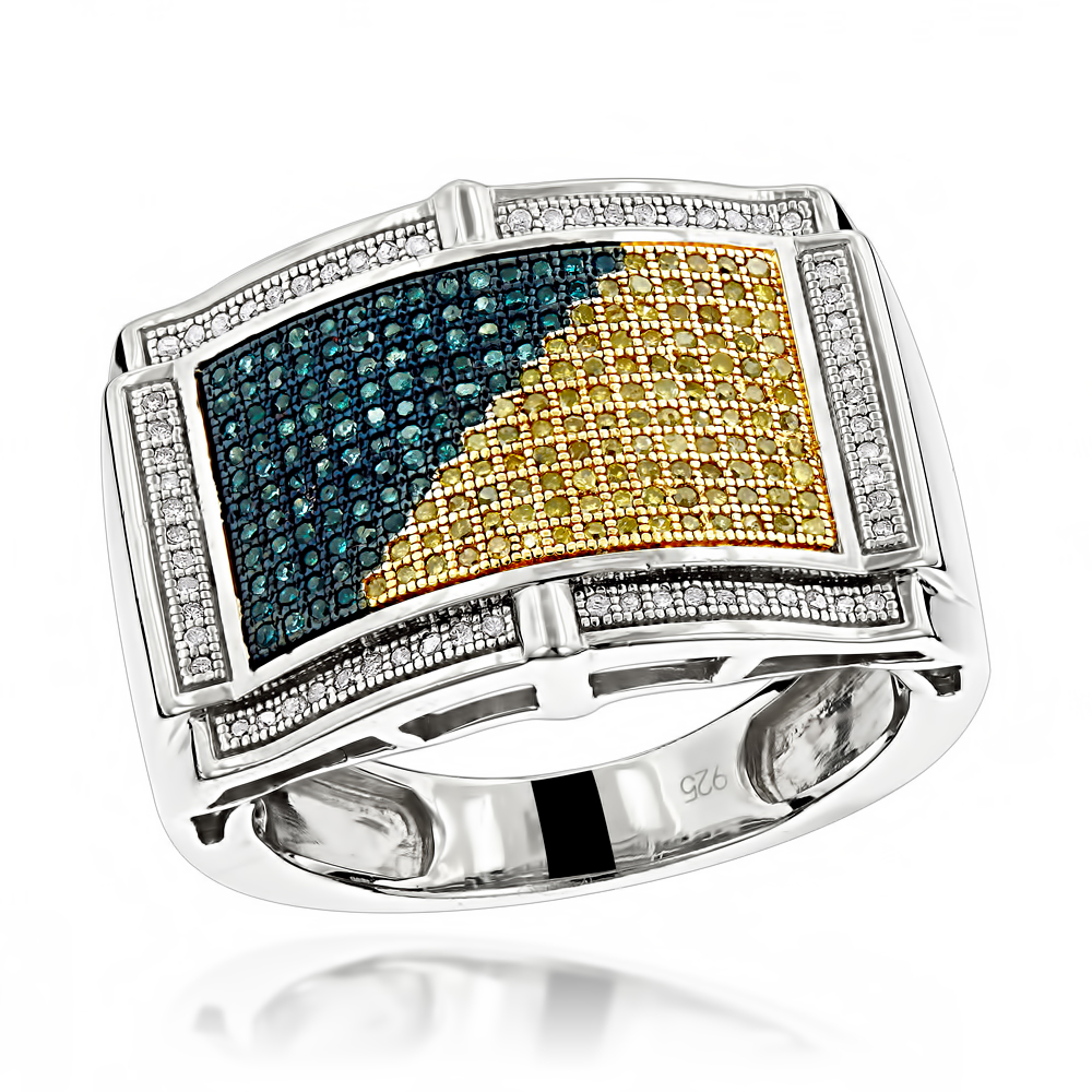 Mens Color Diamond Ring 0.61ct Sterling Silver