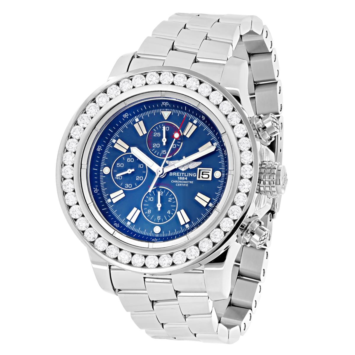 Mens Custom Breitling Super Avenger Diamond Watch 7ct