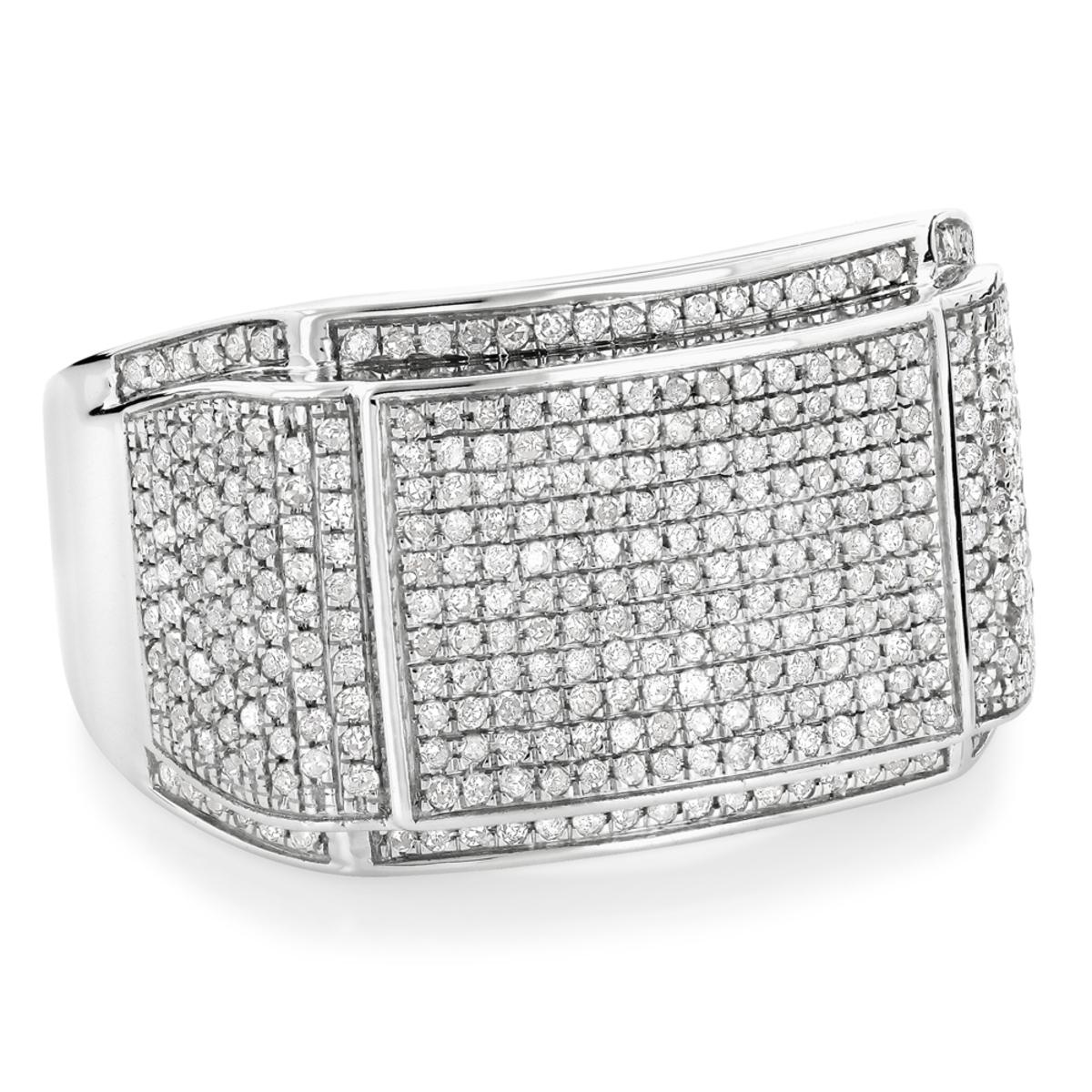 Mens Diamond Band 10K Gold Wedding Ring 0.8 carat