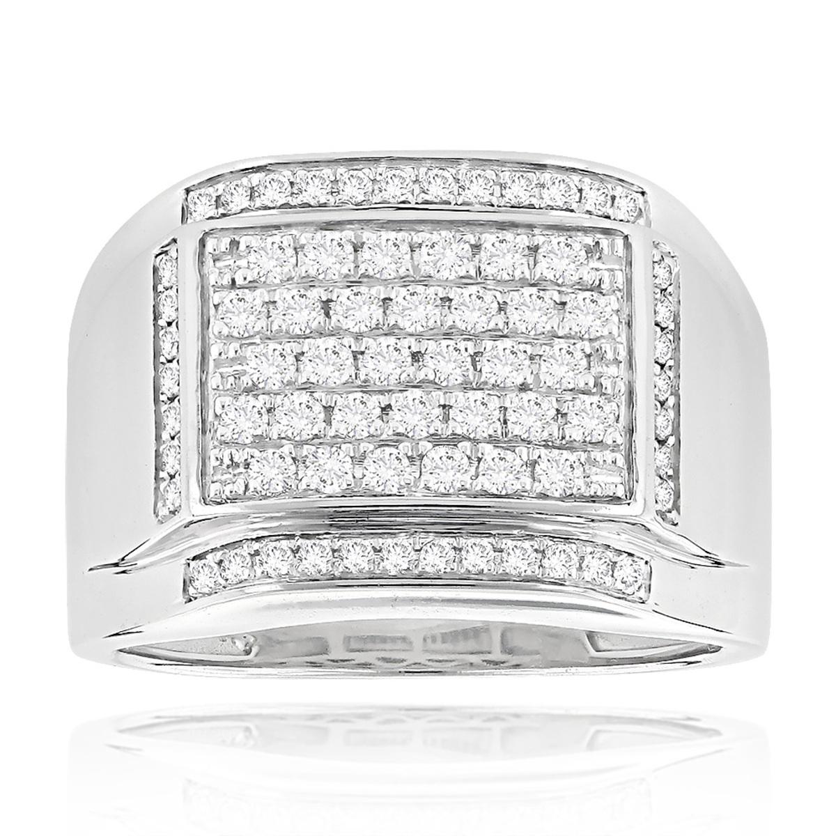 Mens Diamond Band 14K Gold Wedding Ring 1ct by Luxurman