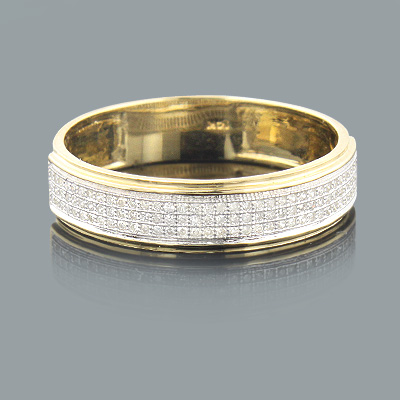 Mens Diamond Bands 14K Gold Diamond Ring 0.27ct