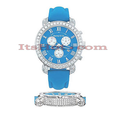 Mens Diamond Benny Watch 4ct Blue