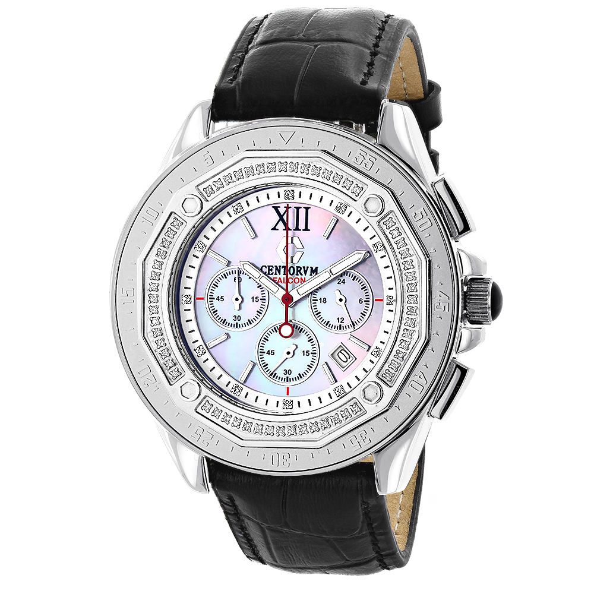 Mens Diamond Bezel Watch by Centorum Falcon 0.55ct