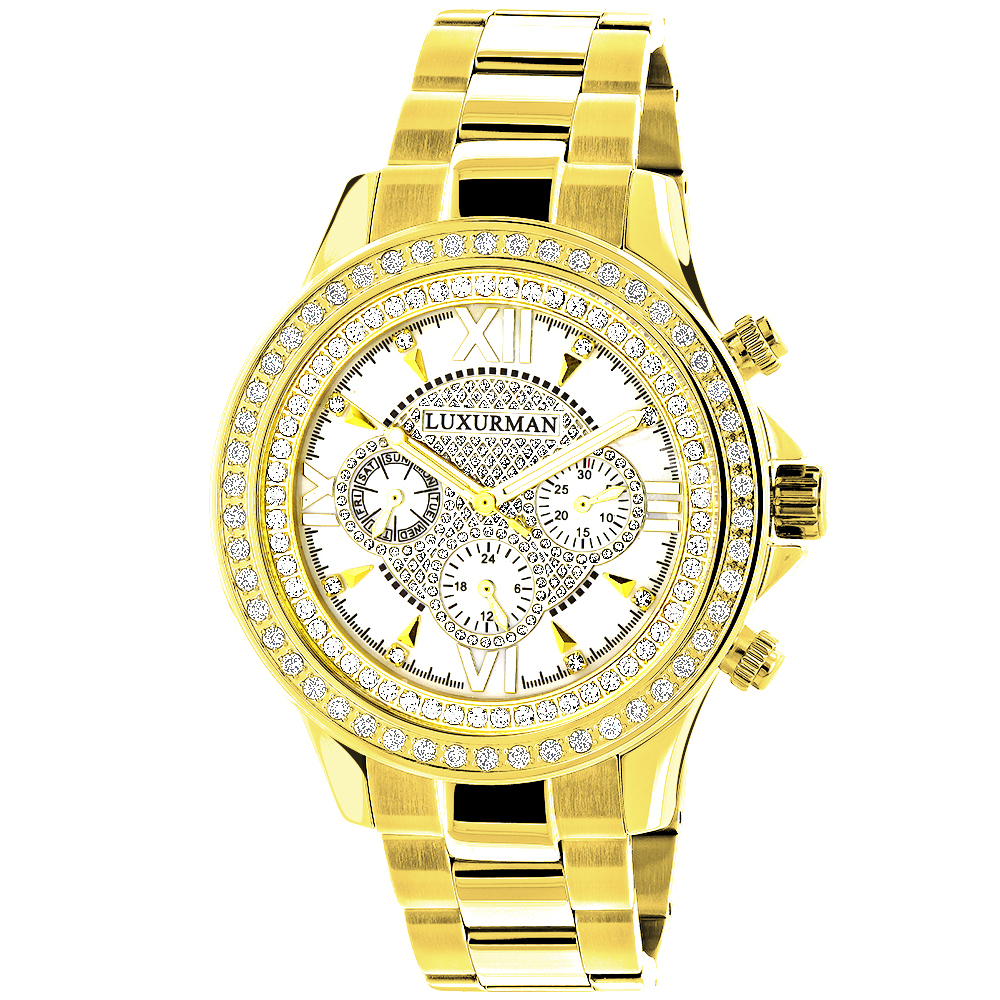 Men's Diamond Bezel Watch Yellow Gold Plated Luxurman 2ct
