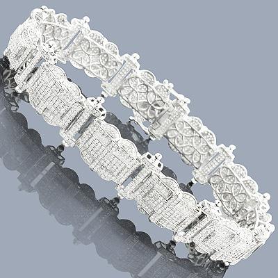 Mens Diamond Bracelet 9.66ct Sterling Silver
