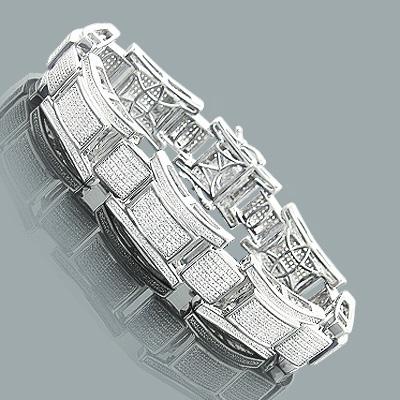 Mens Diamond Bracelet in Sterling Silver 2.47ct