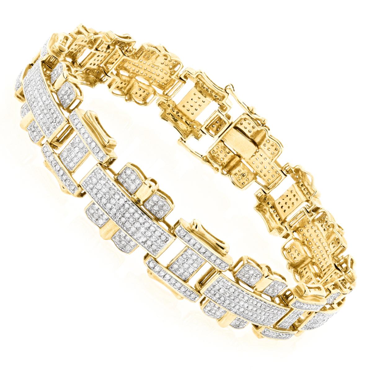 Mens Diamond Bracelet Jewelry 10K Gold 3ct