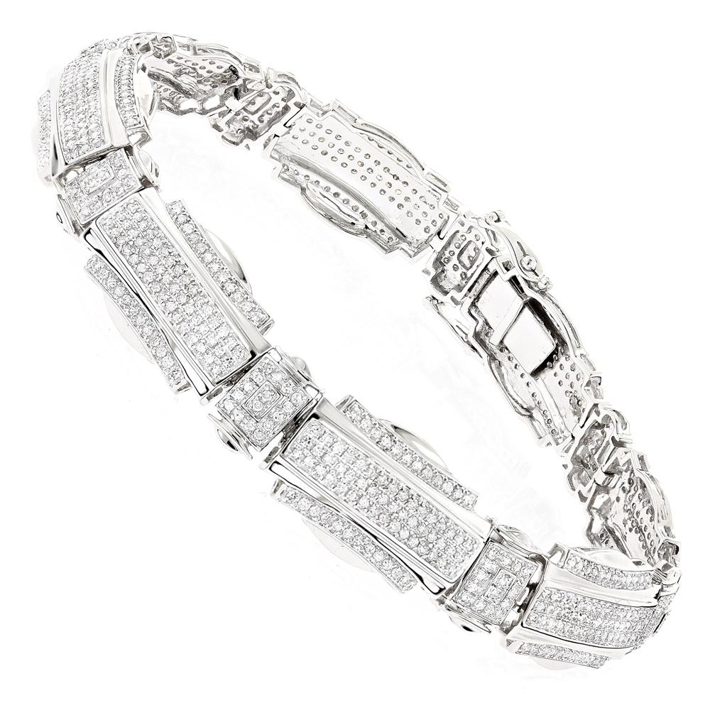 Mens Diamond Bracelets: 10K Gold 3.13ct