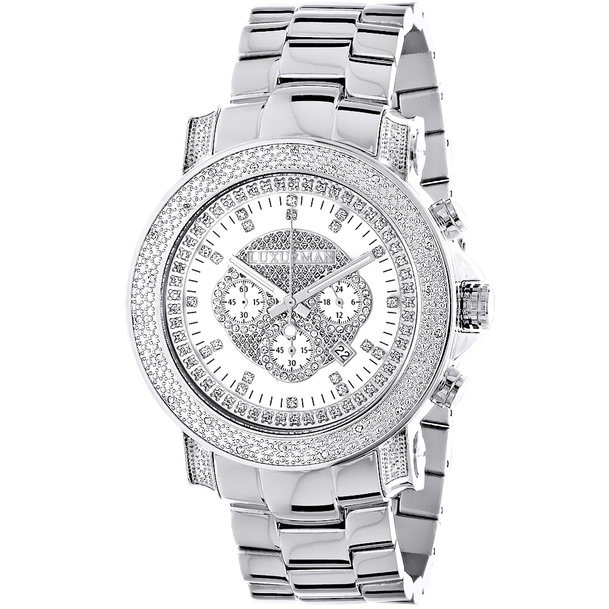 Mens Diamond Chronograph Watch by Luxurman 0.75ct Escalade