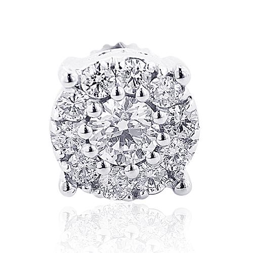 Mens Diamond Cluster Earring 14K 0.69ct Single Stud
