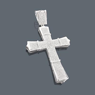 Mens Diamond Cross Pendant 14K 2.70ct