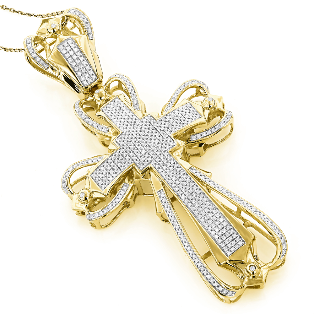 Mens Diamond Cross Pendant 2.16ct 10K Gold