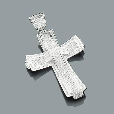 Mens Diamond Cross Pendant Jewelry 1.81ct