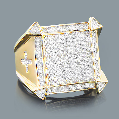 Mens Diamond Cross Ring 0.81ct 10K Gold Jewelry