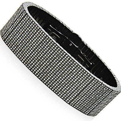 Mens Diamond Cuff Bracelet in Stainless Steel 22.55ct