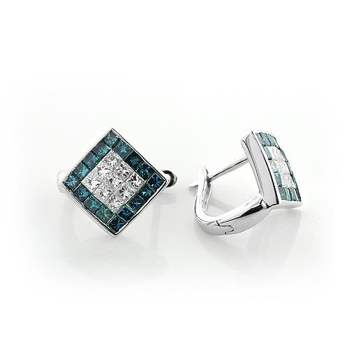 Mens Diamond Earrings: White Blue Diamonds 14k 1.07ct